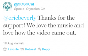 Tweet from Special Olympics Southern California